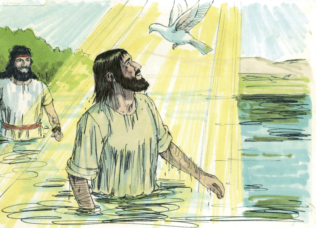 Illustration of Jesus' baptism with John the baptism in the background. We are preparing for worship by examining what this event in Jesus' life means for us.